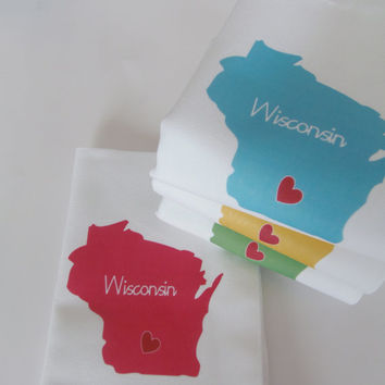 I Love Wisconsin, Set of Four Napkins- Set of FOUR