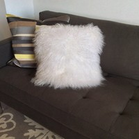 "Like new West Elm 16"" Mongolian lamb pillow"