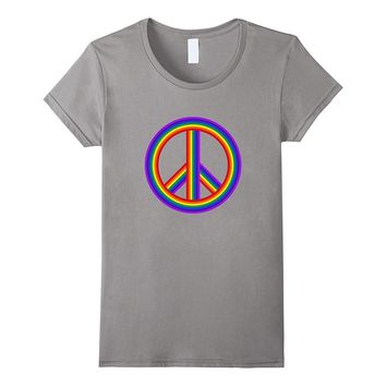 Rainbow Peace Sign | Retro Hippie Love & Equality T-Shirt