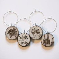 Wine Time Wine Charms, set of 4 rustic wood burned wine glass markers, natural, handmade