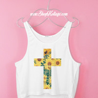 Sunflowers Cross Crop Tank Top
