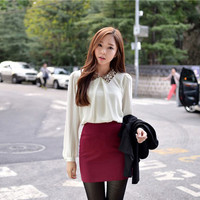 1PCS Womens Sequin Peter Pan Collar Long sleeve Chiffon Loose Shirt Blouse Tops