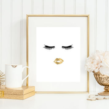 Bathroom Wall Art, Bathroom Art Print, Makeup Art, 5x7, 8x10, 11x14 Lips Art, Faux Gold Bathroom Art, Fashion Art, Girly Decor, Salon Art