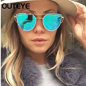 OUTEYE Fashion Brand Sunglasses Women Glasses Cat Eye Sun Glasses Male Mirror Sunglasses Men Glasses Female Vintage Gold Glasses