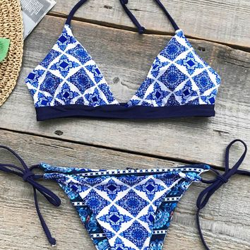 Cupshe Tropical Geometry Print Bikini Set