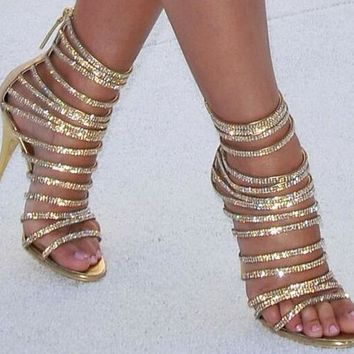 Luxury Crystal Straps Gold Open Toe Bling Bling High Heels Sandals