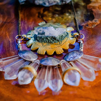 Sunburst Wearable Altar - Quartz Crystal Point and Pyrite  | Boho Gypsy Tribal Belly Dance Festival Burning Man