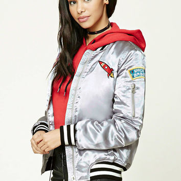 Satin Patch Bomber Jacket