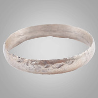 Ancient Viking Silver over Bronze Wedding Band Jewelry C.866-1067A.D. Size 9 1/2   (18.9mm)(Brr818)