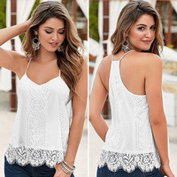 White summer Tops Women Loose Casual Sleeveless Vest Shirt Tank T-shirt Lace Tassel Mujer T-Shirts Femme TONSEE