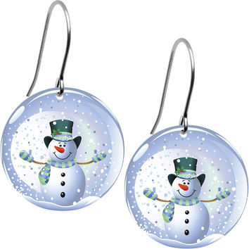 Snow Globe Snowman Earrings