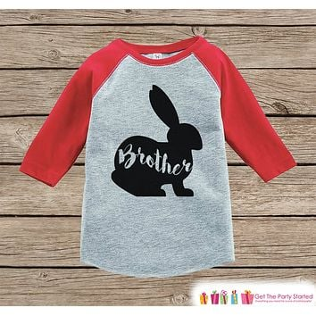 Kids Spring Outfit - Brother Bunny Shirt or Onepiece - Bunny Silhouette Family Shirts - Baby, Toddler - Boys Easter Sibling Shirts - Red