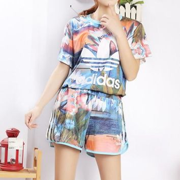 """""""Adidas"""" Women Casual Letter Multicolor Lotus Print Short Sleeve Shorts Set Two-Piece"""