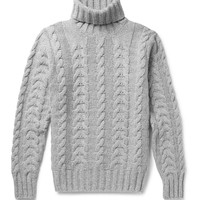 Hackett - Cable-Knit Wool and Cashmere-Blend Rollneck Sweater | MR PORTER