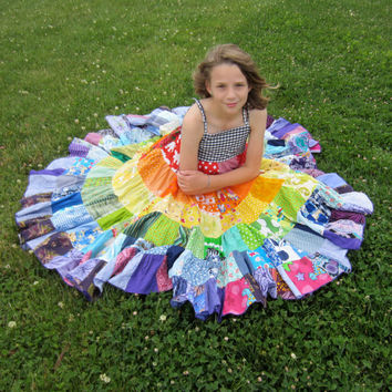 Rainbow dress patchwork twirly twirler bright eco girls children sundress custom upcycled size 4 - 10 made to measure CUSTOM ORDER