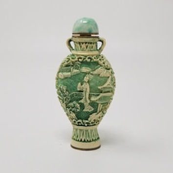 Chinese Carved Green Colored Snuff Bottle Qianlong Marking
