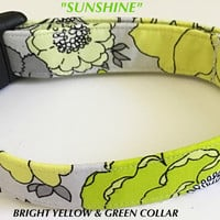 Yellow & Gray Floral Summer Collar for Girl Dog or Cat