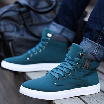 New Brand Flat Heel Men's Shoes Autumn Winter Ankle Flat