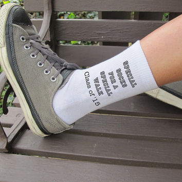 Graduation Graduate Gift Idea- Graduation Gift Socks - Custom Printed Personalized Gift, Set of 3 white Crew Socks