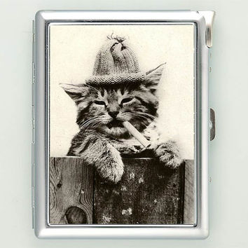 Cat smoking Vintage Cigarette Case with Lighter Wallet CGC1390