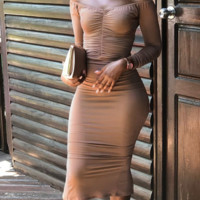 Hot style is a hot seller. It is a long sleeved sexy MIDI dress