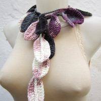 Handmade crochet Lariat Scarf Grey Purple Lilac White Colorful Variegated Long Necklace Winter Fashion