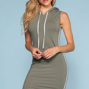 Tamil Bodycon Track Dress - Sage