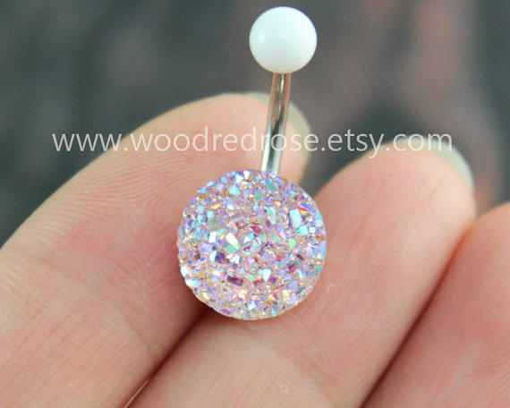 Sparkling belly ring,blingbling belly from woodredrose on Etsy