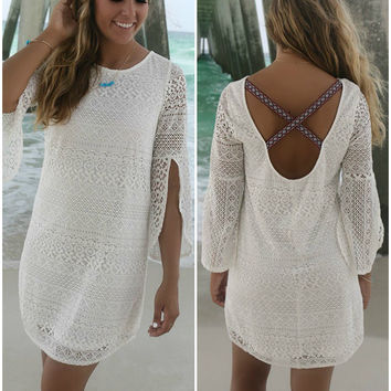 Cayman Islands Bell Sleeve Aztec Criss Cross Back Lace White Dress