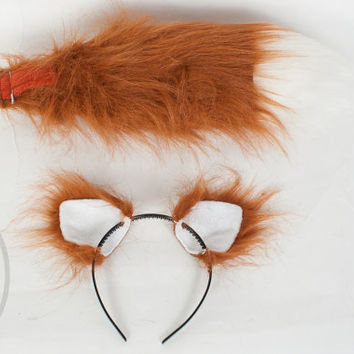 "SMALL Rust Furry Ear and/or 16"" Tail with white tip Set Cosplay, Accessories, Costume - for Kids or Adults"