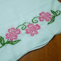 Set of 2 Vintage White Pillowcase with Pink Cross Stitch Flowers for housewares, crafts, sewing, bedding, clothes by MarlenesAttic