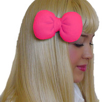 Mini Minnie Mouse Poofy Hair Bow Clip in Neon Pink