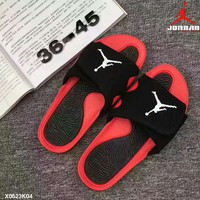 NIKE Jordan summer Holiday leisure sport slippers shoes Black red-black(white logo) H-PSXY