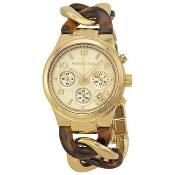 Michael Kors Ladies Runway Gold Tone Tortoise Twist Chronograph Watch MK4222