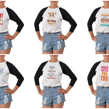 Women's Quote-2 Printed Elbow Sleeves T- Shirt WTS_03