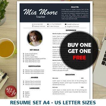 Teacher Resume Template | Elementary | Instant Download | One Page CV | Modern Cover Letter Templates | Clean & Simple Resume Template Word