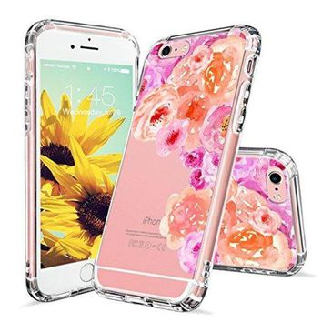 DCCKV2S iPhone 6s Case, Clear iPhone 6 Case, MOSNOVO Watercolor Roses Floral Printed Flower Clear Design Transparent Plastic Hard Back Case with TPU Bumper Protective Case Cover for iPhone 6 6s (4.7 Inch)