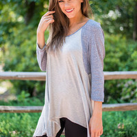 Strike Out Top, Gray-Blue