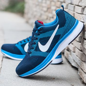 """NIKE"" Trending Fashion Casual Sports Shoes Dots Lace up Blue"