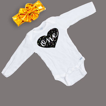 First Birthday Outfit - One Birthday Long Sleeve Glitter Bodysuit Black  - One Year Old Birthday Shirt and Headband - One Year Old Outfit