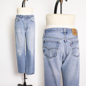 "Vintage Levi's 501xx JEANS - Cotton Denim Straight Leg High Waist Boyfriend Jeans 1980s - 31"" x 31"""
