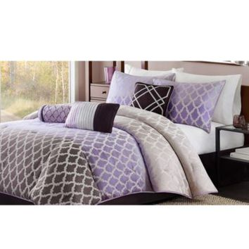 Madison Park Bayer 7-Piece Comforter Set in Purple