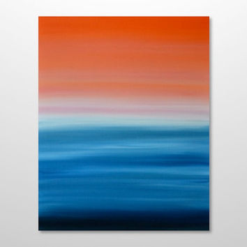 Minimalist Abstract Seascape Ocean Sunset Painting - Canvas Acrylic Wall Art Decor - Blue, Orange, Pink - 24 x 30 Vertical - FREE SHIPPING
