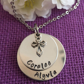 Mom Necklace - Mother's Day Gift - Mom Jewelry - Mother's Necklace - Mother's Jewelry - Stacked Disc - Name Necklace - Cross Necklace  - Mom
