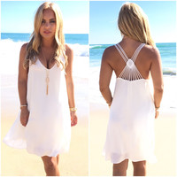 Diamond Back Shift Dress In Ivory