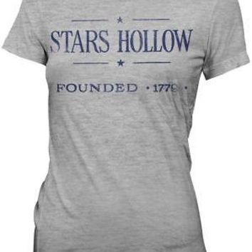 Gilmore Girls Stars Hollow Town Logo Licensed Women's Junior T-Shirt - Grey