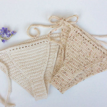 "Crochet swim bottoms ""sunray""  brazilian cheeky style 100%-cotton yarn"
