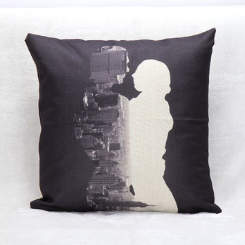 Vintage Printed Pillow Case Couple black and white Cushion Cotton Linen Cover Square 45X45CM