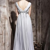 Grey Square Neck Beads High-Waist Fashion Dress 81039 from locascio