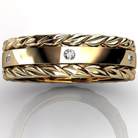 14k yellow gold diamond unusual unique leaf and vine floral wedding band LB-2022-2.